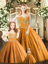 Fashionable Floor Length Lace Up Quinceanera Dresses Rust Red for Military Ball and Sweet 16 and Quinceanera with Beading
