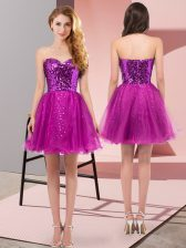 Beauteous Mini Length Fuchsia Sweetheart Sleeveless Zipper