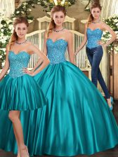 Beautiful Tulle Sleeveless Floor Length 15 Quinceanera Dress and Beading