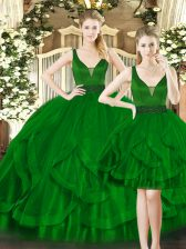 Noble Dark Green Ball Gowns Beading and Ruffles Quinceanera Gown Lace Up Tulle Sleeveless Floor Length