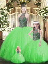 Floor Length Green Sweet 16 Dress Halter Top Sleeveless Lace Up
