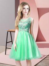 Apple Green Scoop Zipper Beading Prom Dress Sleeveless