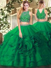 Romantic Dark Green Two Pieces Tulle High-neck Sleeveless Beading and Ruffled Layers Floor Length Zipper Quinceanera Dress