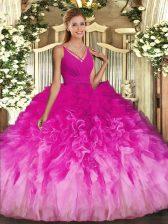 Popular Sleeveless Beading and Ruffles Backless Quinceanera Dress