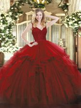 Luxury Wine Red Sweet 16 Quinceanera Dress Military Ball and Sweet 16 and Quinceanera with Beading and Lace and Ruffles V-neck Sleeveless Backless
