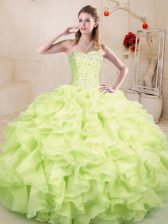 Sweetheart Sleeveless Lace Up 15th Birthday Dress Yellow Green Organza