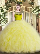 Yellow Green Scoop Zipper Beading and Ruffles Quinceanera Dresses Sleeveless