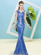 Most Popular Floor Length Blue Prom Dress Asymmetric Sleeveless Zipper
