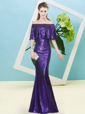 Off The Shoulder Half Sleeves Zipper Prom Evening Gown Purple Sequined