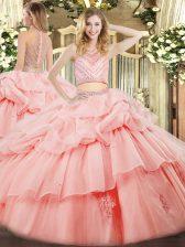 Pink High-neck Zipper Beading and Ruffles Ball Gown Prom Dress Sleeveless