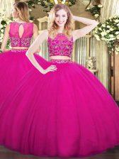 Custom Designed Fuchsia Tulle Zipper High-neck Sleeveless Floor Length Ball Gown Prom Dress Beading