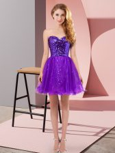Gorgeous Purple Tulle Zipper Sweetheart Sleeveless Mini Length Sequins