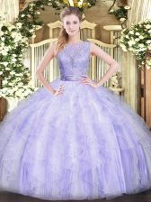 Super Sleeveless Organza Floor Length Backless Quinceanera Gown in Lavender with Beading and Ruffles