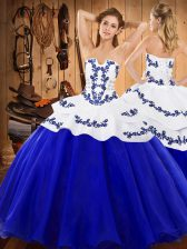 Fashionable Strapless Sleeveless Satin and Organza Sweet 16 Quinceanera Dress Embroidery Lace Up