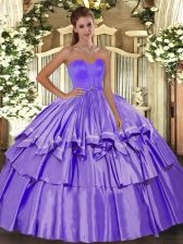 Inexpensive Floor Length Lace Up Sweet 16 Dress Lavender for Military Ball and Sweet 16 and Quinceanera with Beading and Ruffled Layers