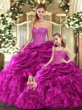 Fuchsia Ball Gowns Sweetheart Sleeveless Organza Floor Length Lace Up Beading and Ruffles Quinceanera Gowns