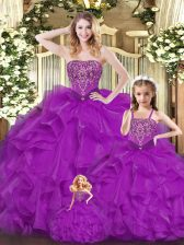 Top Selling Floor Length Lace Up Quinceanera Dresses Purple for Military Ball and Sweet 16 and Quinceanera with Beading and Ruffles