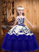 Straps Sleeveless Child Pageant Dress Floor Length Embroidery Purple Organza