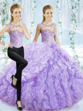 Vintage Lavender Quinceanera Gowns Organza Brush Train Sleeveless Beading and Pick Ups