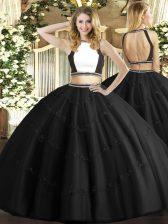 Black Ball Gowns Tulle Halter Top Sleeveless Beading Floor Length Backless Vestidos de Quinceanera