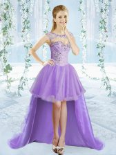 Top Selling Organza Sleeveless High Low Prom Party Dress and Beading
