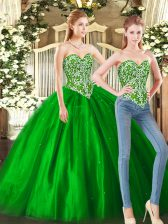 Ball Gowns 15th Birthday Dress Green Sweetheart Tulle Sleeveless Floor Length Lace Up