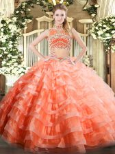 High-neck Sleeveless Backless Ball Gown Prom Dress Orange Red Tulle