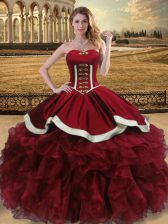 Dynamic Wine Red Ball Gowns Beading and Ruffles 15 Quinceanera Dress Lace Up Organza Sleeveless Floor Length