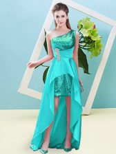 Aqua Blue Prom Dress Prom and Party with Beading and Sequins One Shoulder Sleeveless Lace Up