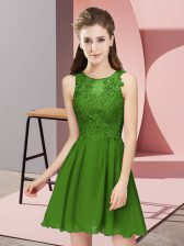 Scoop Sleeveless Zipper Damas Dress Green Chiffon