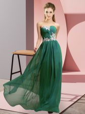 Beautiful Dark Green Sweetheart Neckline Appliques Prom Gown Sleeveless Zipper