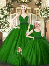 Enchanting V-neck Sleeveless Zipper Quinceanera Dresses Green Tulle