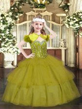 Dazzling Floor Length Olive Green Kids Formal Wear Organza Sleeveless Beading and Ruffled Layers