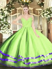 Ball Gowns Organza Spaghetti Straps Sleeveless Ruffled Layers Floor Length Zipper 15th Birthday Dress