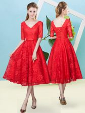 Fashion Half Sleeves Lace Tea Length Lace Up Court Dresses for Sweet 16 in Red with Bowknot