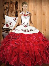 Graceful Halter Top Sleeveless Satin and Organza Sweet 16 Quinceanera Dress Embroidery and Ruffles Lace Up