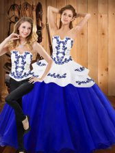 Royal Blue Tulle Lace Up 15th Birthday Dress Sleeveless Floor Length Embroidery