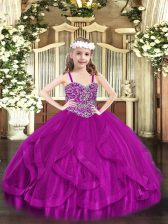 New Arrival Sleeveless Tulle Floor Length Lace Up Pageant Dress for Girls in Fuchsia with Beading and Ruffles