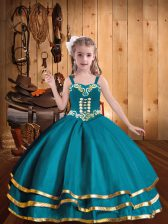 Glorious Floor Length Teal Little Girl Pageant Dress Straps Sleeveless Lace Up