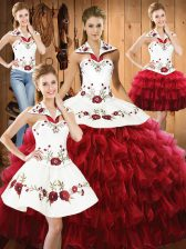 Eye-catching Wine Red Halter Top Lace Up Embroidery and Ruffled Layers Quince Ball Gowns Sleeveless