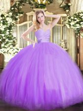 Perfect Lavender Lace Up Sweetheart Beading Sweet 16 Dresses Tulle Sleeveless
