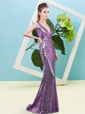 Floor Length Zipper Lavender for Prom and Party with Sequins