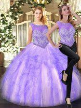 Deluxe Lilac Sleeveless Beading and Ruffles Floor Length 15th Birthday Dress