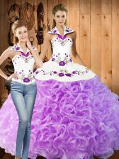 Floor Length Lilac Quinceanera Gown Fabric With Rolling Flowers Sleeveless Embroidery