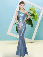 Custom Designed Sleeveless Zipper Floor Length Sequins Prom Party Dress