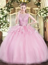Luxury Baby Pink Ball Gowns Organza Scoop Sleeveless Lace Floor Length Backless Sweet 16 Dresses