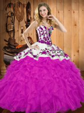 Simple Sleeveless Lace Up Floor Length Embroidery and Ruffles 15 Quinceanera Dress