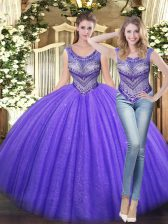 New Style Lavender Ball Gowns Beading Ball Gown Prom Dress Lace Up Tulle Sleeveless Floor Length