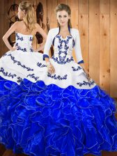 Adorable Blue And White Satin and Organza Lace Up Strapless Sleeveless Floor Length Ball Gown Prom Dress Embroidery and Ruffles