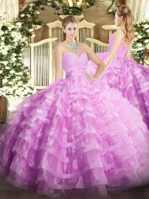 Sumptuous Sleeveless Lace Up Floor Length Beading and Ruffled Layers Sweet 16 Dress